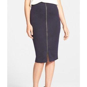 Halogen Zip Front Stretch Knit Pencil Skirt